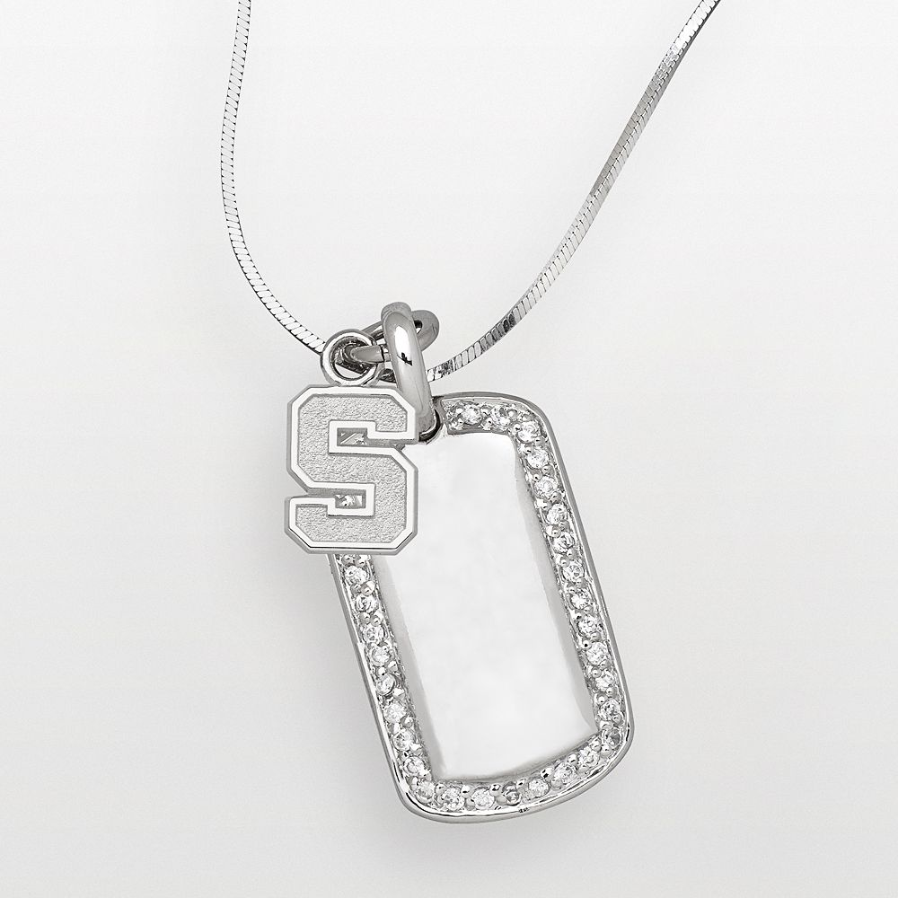 Michigan State Spartans Sterling Silver Cubic Zirconia Dog Tag Pendant