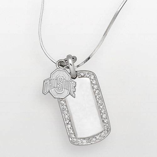 Ohio State Buckeyes Sterling Silver Cubic Zirconia Dog Tag Pendant