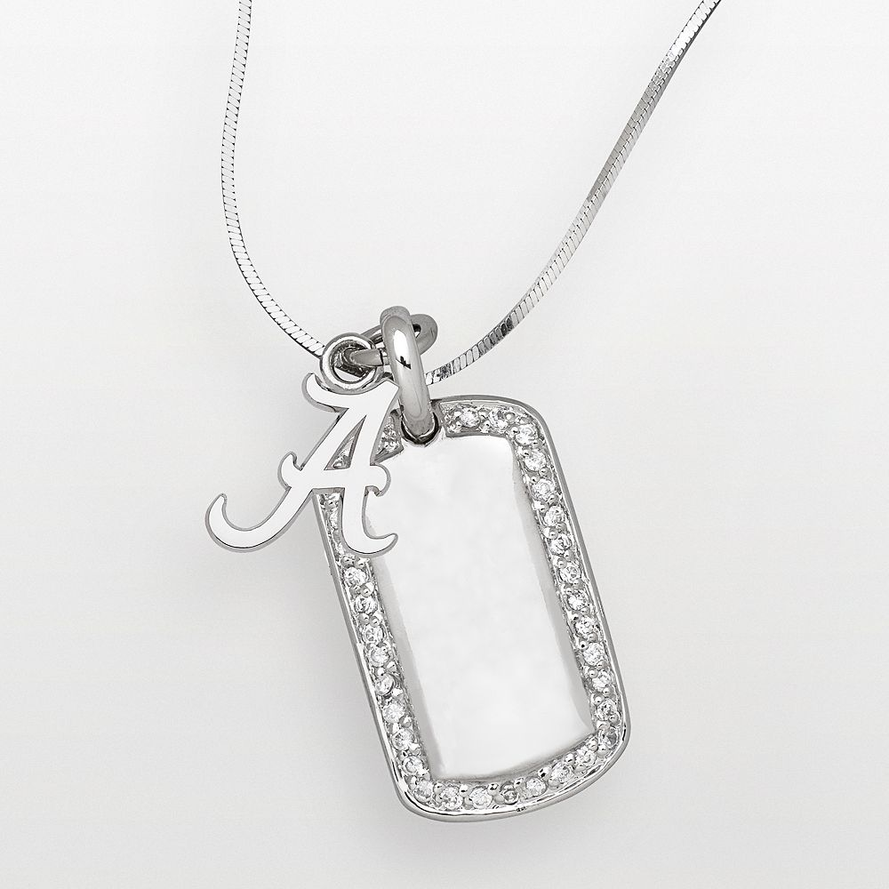 Alabama Crimson Tide Sterling Silver Cubic Zirconia Dog Tag Pendant