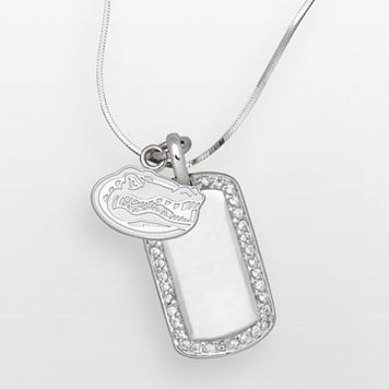 Florida Gators Sterling Silver Cubic Zirconia Dog Tag Pendant