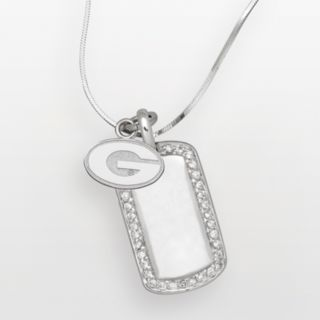 Georgia Bulldogs Sterling Silver Cubic Zirconia Dog Tag Pendant