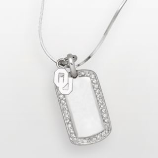 Oklahoma Sooners Sterling Silver Cubic Zirconia Dog Tag Pendant