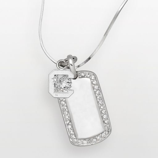 South Carolina Gamecocks Sterling Silver Cubic Zirconia Dog Tag Pendant