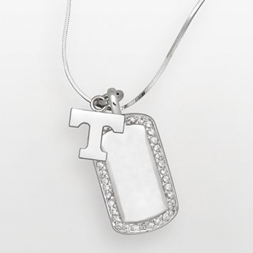 Tennessee Volunteers Sterling Silver Cubic Zirconia Dog Tag Pendant