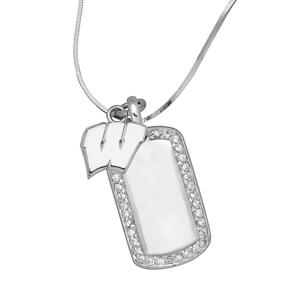 Wisconsin Badgers Sterling Silver Cubic Zirconia Dog Tag Pendant