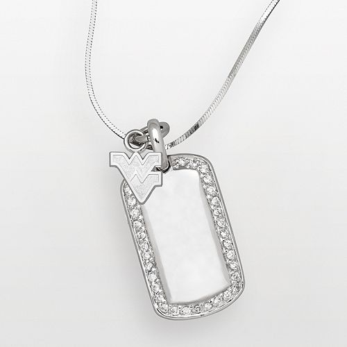 West Virginia Mountaineers Sterling Silver Cubic Zirconia Dog Tag Pendant