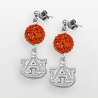 Auburn Tigers Sterling Silver Crystal Linear Drop Earrings