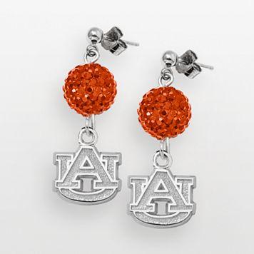 Auburn Tigers Sterling Silver Crystal Linear Drop Earrings