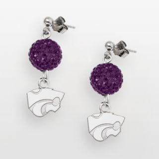 Kansas State Wildcats Sterling Silver Crystal Linear Drop Earrings