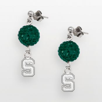 Michigan State Spartans Sterling Silver Crystal Linear Drop Earrings
