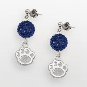 Penn State Nittany Lions Sterling Silver Crystal Linear Drop Earrings
