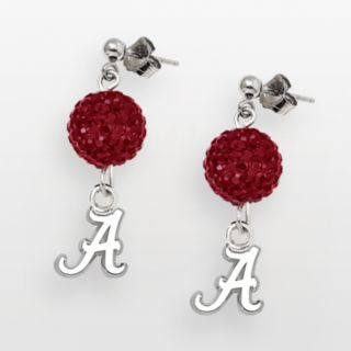 LogoArt Alabama Crimson Tide Sterling Silver Crystal Linear Drop Earrings
