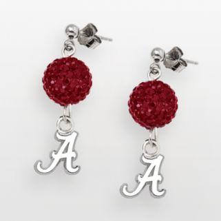 LogoArt Alabama Crimson Tide Sterling Silver Crystal Linear Drop Earrings