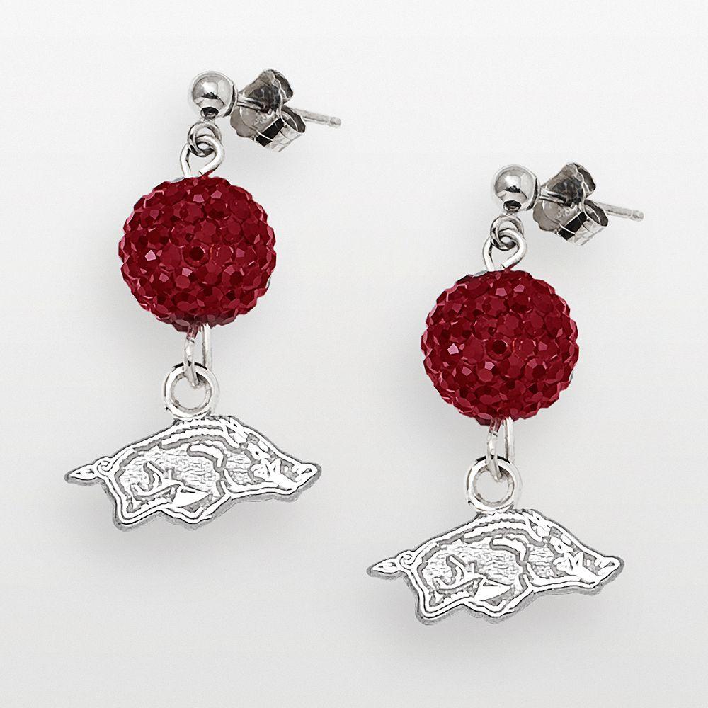 Arkansas Razorbacks Sterling Silver Crystal Linear Drop Earrings