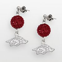 Arkansas Razorbacks Sterling Silver Crystal Linear Drop Earrings