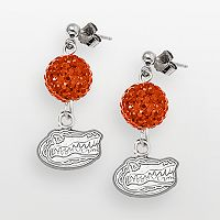 Florida Gators Sterling Silver Crystal Linear Drop Earrings