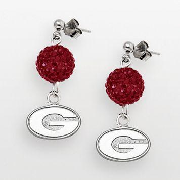 University of Georgia Bulldogs Sterling Silver Crystal Linear Drop Earrings