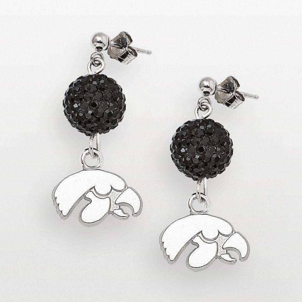 University of Iowa Hawkeyes Sterling Silver Crystal Linear Drop Earrings