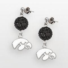 University of Iowa Hawkeyes Sterling Silver Crystal Linear Drop Earrings