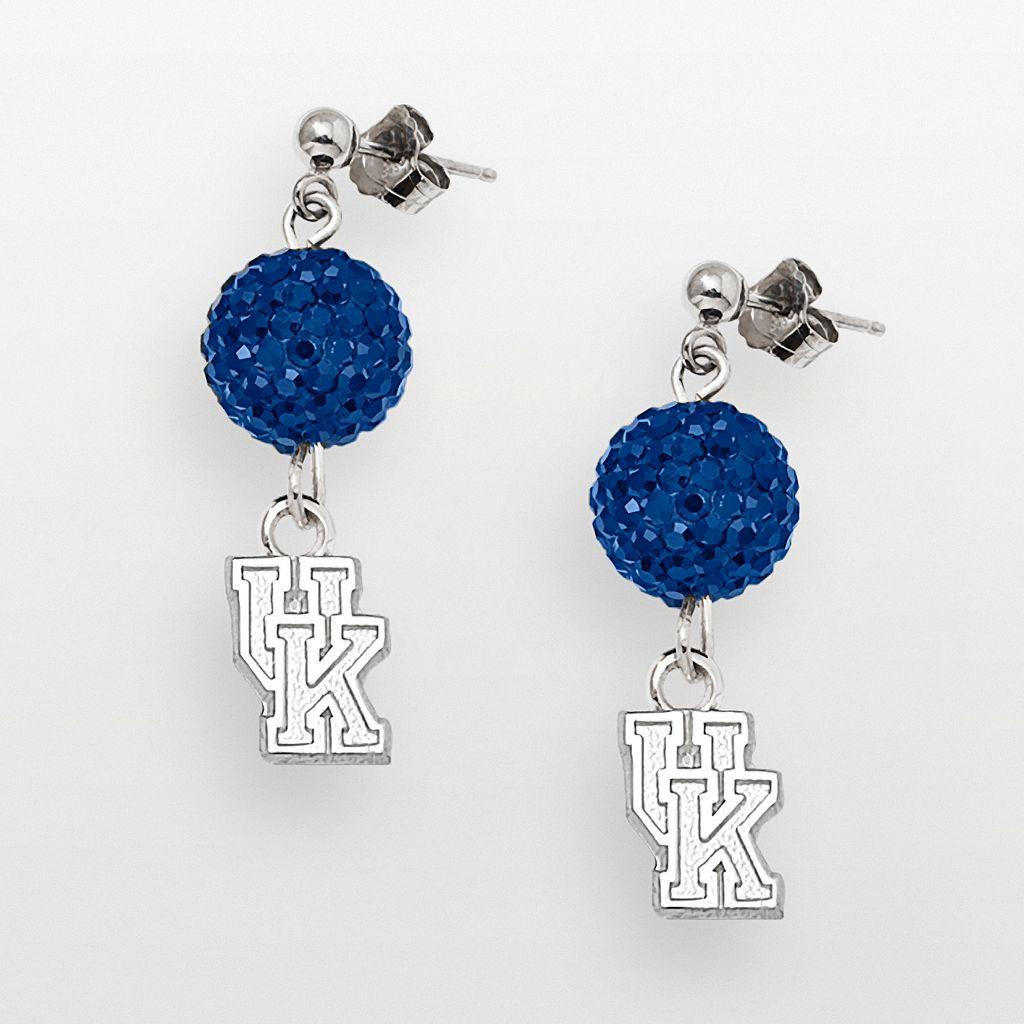 Kentucky Wildcats Sterling Silver Crystal Linear Drop Earrings