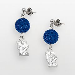 Kentucky Wildcats Sterling Silver Crystal Linear Drop Earrings