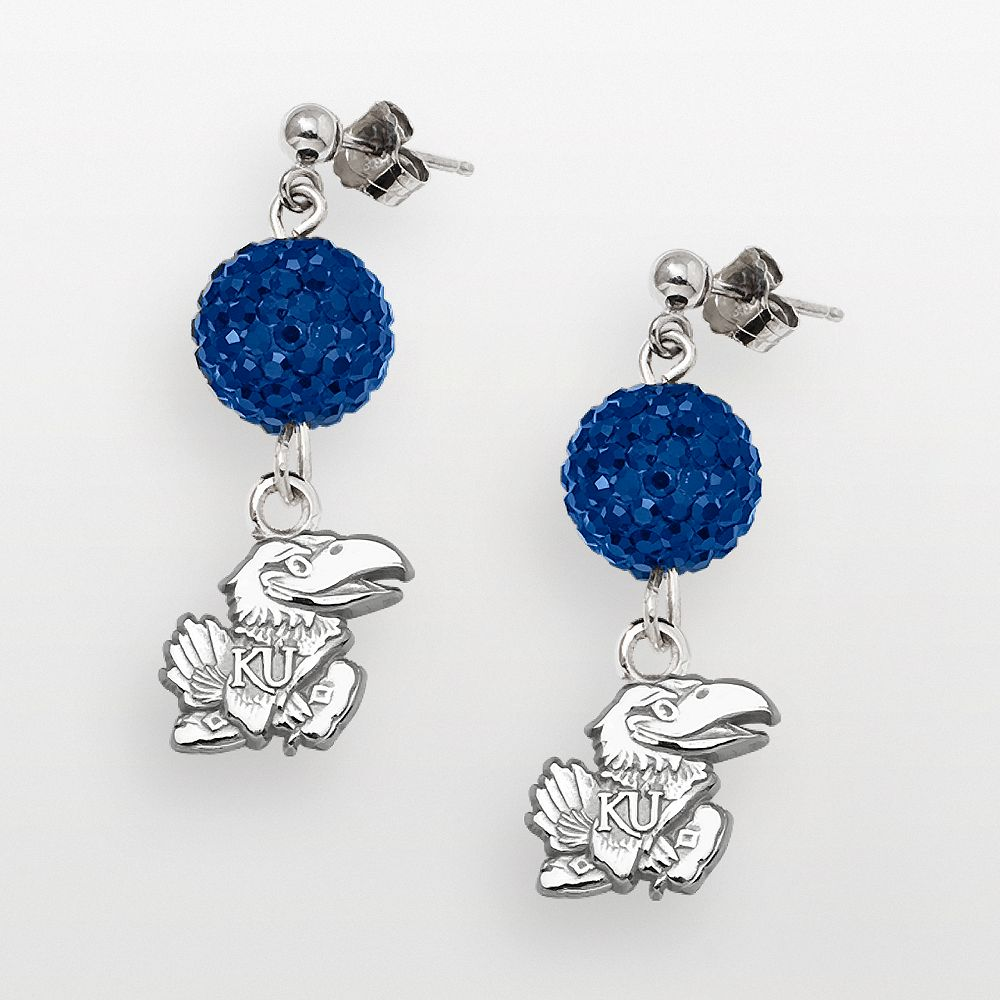 Kansas Jayhawks Sterling Silver Crystal Linear Drop Earrings