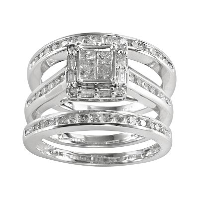 10k White Gold 1-ct. T.W. Princess-Cut Diamond Square Ring Set