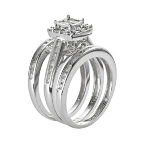 Princess-Cut Diamond Square Engagement Ring Set in 10k White Gold (1 ct. T.W.)