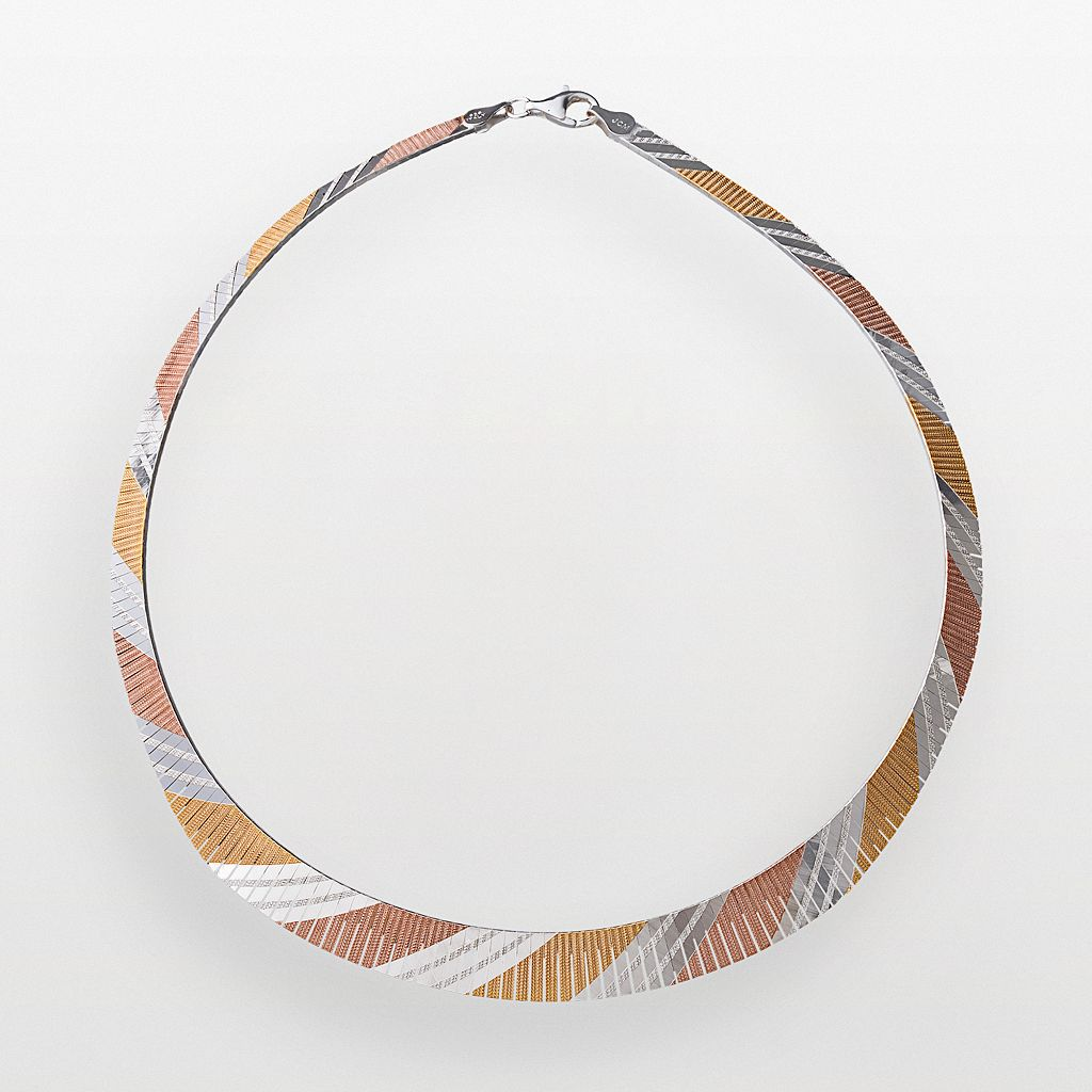 18k Gold Over Silver & Sterling Silver Tri-Tone Omega Necklace
