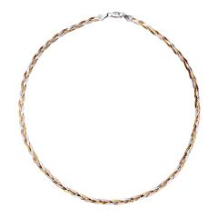 18k Gold Over Silver & Sterling Silver Tri-Tone Braided Necklace