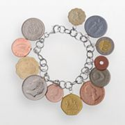 Sterling Silver International Coin Bracelet