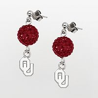 Oklahoma Sooners Sterling Silver Crystal Linear Drop Earrings