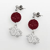 South Carolina Gamecocks Sterling Silver Crystal Linear Drop Earrings