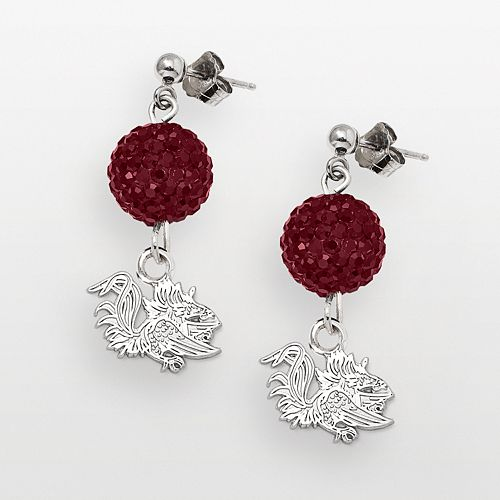 South Carolina Gamecocks Sterling Silver Crystal Linear Drop Earrings