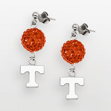 University of Tennessee Volunteers Sterling Silver Crystal Linear Drop Earrings