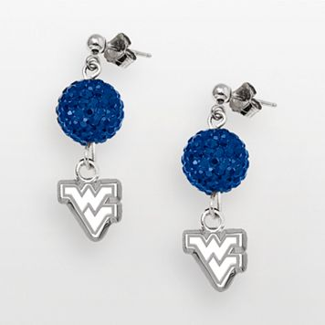 West Virginia Mountaineers Sterling Silver Crystal Linear Drop Earrings