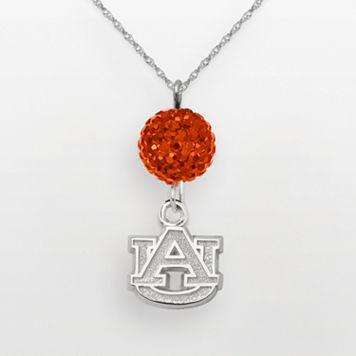 Auburn Tigers Sterling Silver Crystal Logo Y Necklace