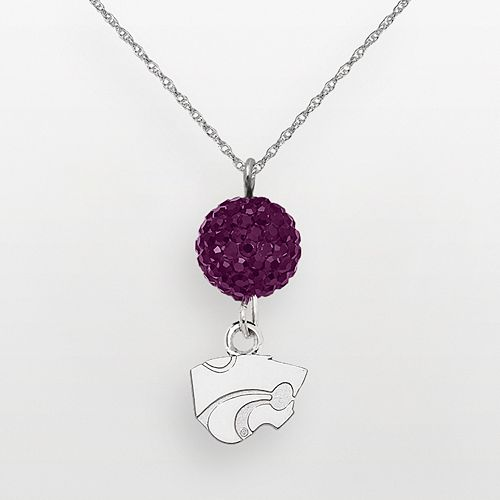 Kansas State Wildcats Sterling Silver Crystal Logo Y Necklace