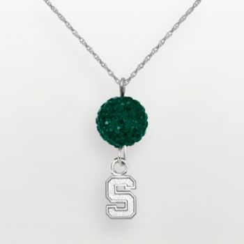 Michigan State Spartans Sterling Silver Crystal Logo Y Necklace