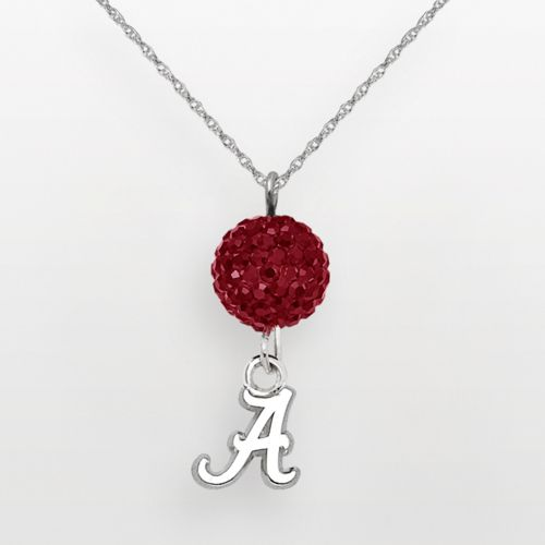 Alabama Crimson Tide Sterling Silver Crystal Logo Y Necklace