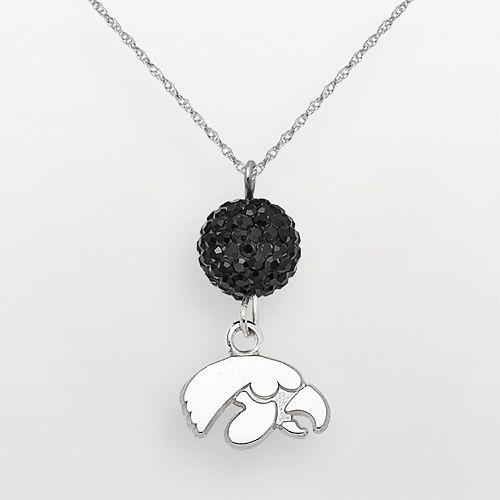 Iowa Hawkeyes Sterling Silver Crystal Logo Y Necklace