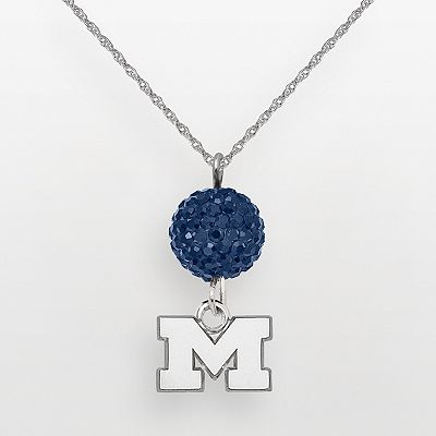 Michigan Wolverines Sterling Silver Crystal Logo Y-Necklace