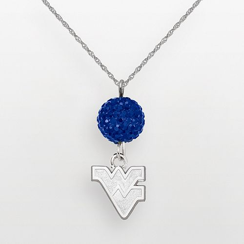 West Virginia Mountaineers Sterling Silver Crystal Logo Y Necklace