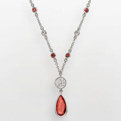Alabama Crimson Tide Silver Tone Crystal Logo Teardrop Y Necklace