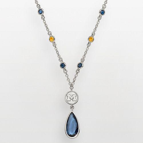 Michigan Wolverines Silver Tone Crystal Logo Teardrop Y Necklace