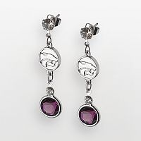 Kansas State Wildcats Silver Tone Crystal Logo Linear Drop Earrings