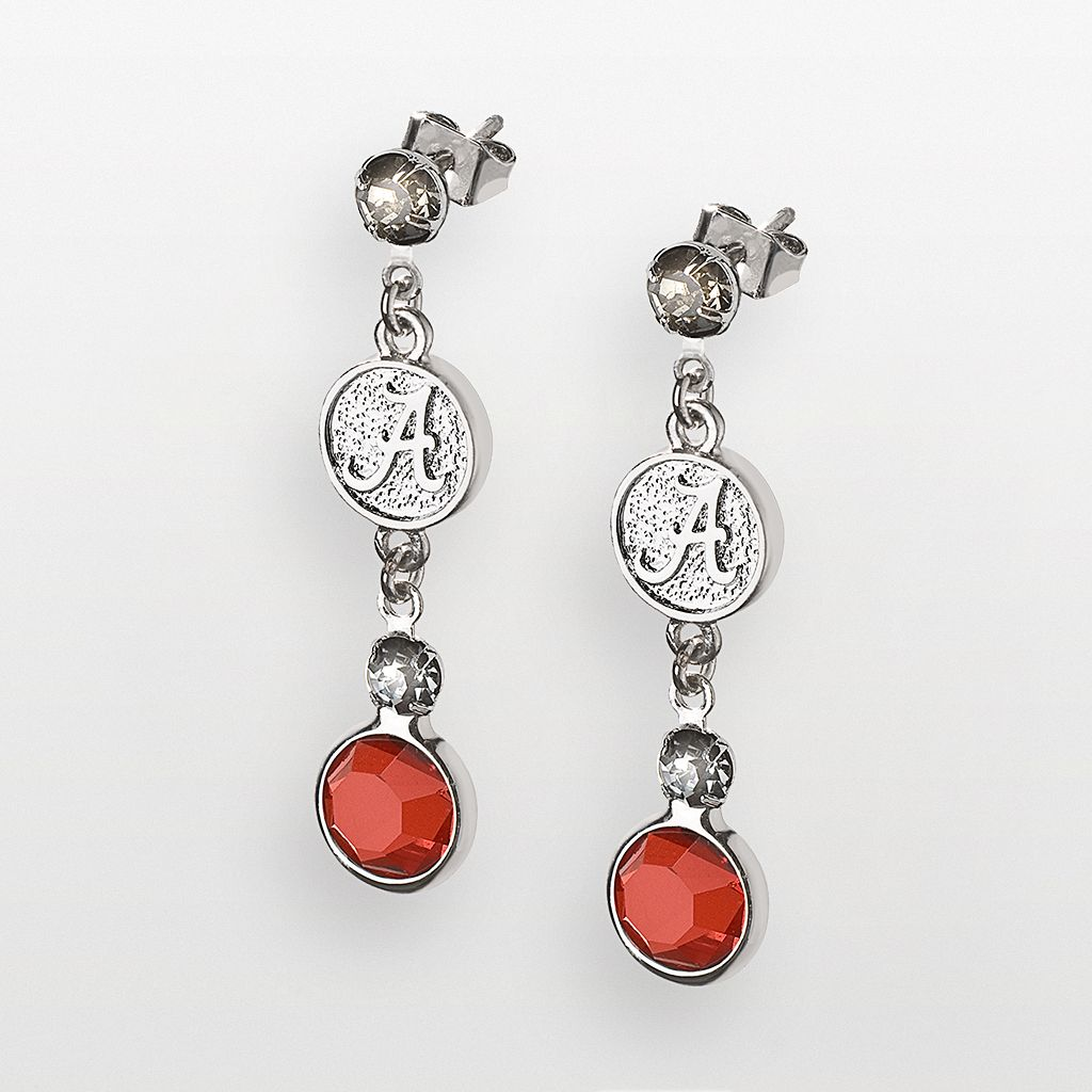 Alabama Crimson Tide Silver Tone Crystal Logo Linear Drop Earrings