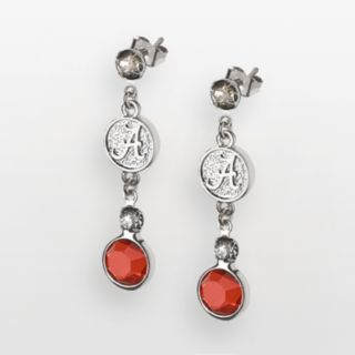 Alabama Crimson Tide Silver Tone Crystal Logo Linear Drop Earrings