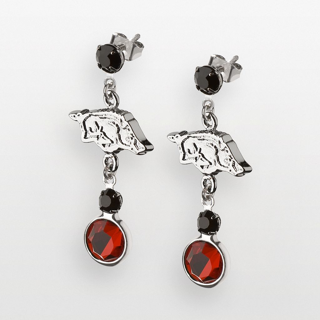 Arkansas Razorbacks Silver Tone Crystal Logo Linear Drop Earrings