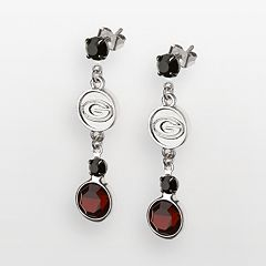 Georgia Bulldogs Silver Tone Crystal Logo Linear Drop Earrings